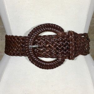 Vintage 90s Belt M Leather Wide Brown Woven